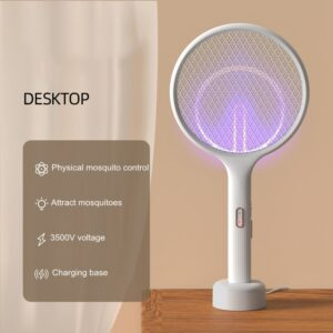 Electric Mosquito Swatter Mosquito Killer Lamp USB Rechargeable Desktop Wall Mounted Killer Trap 3500V Electric Shock With Light